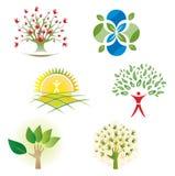 Satz Baum-Natur-Laub-Ikonen für Logo Design Lizenzfreie Stockfotografie