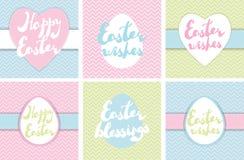 Satz bedruckbare Ostern-Grußkarten Stockfotos