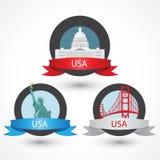 Satz berühmte Monumente USA Kapitol, Golden gate bridge und Freiheitsstatue Flache Vektorillustration kann im Webdesign benutzt w Stockfotografie