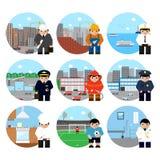 Satz Berufcharaktere auf thematischen Hintergründen vector Illustration Lizenzfreie Stockbilder