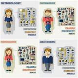 Satz Berufe Fotograf, Meteorologe Stockbilder
