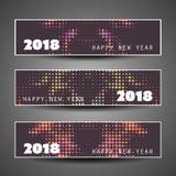 Satz beschmutzte horizontale neues Jahr-Titel oder Fahnen - 2018 Lizenzfreie Stockbilder
