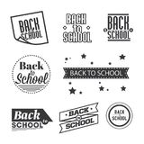 Satz Beschriftung ` zurück zu Schule-`, Typografiegestaltungselemente lizenzfreie abbildung