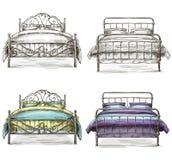Satz Betten, die Skizzenart zeichnen Lizenzfreies Stockfoto