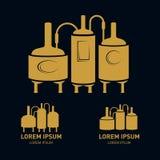 Satz - Bierbrauereielemente, Ikonen, Logos Vektor Lizenzfreie Stockbilder