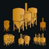 Satz - Bierbrauereielemente, Ikonen, Logos Vektor Stockfotos