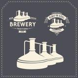 Satz - Bierbrauereielemente, Ikonen, Logos Vektor Stockfoto