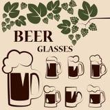 Satz Bierkrüge Stockbild