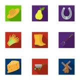 Satz Bilder über die Gartenarbeit Dorf, Gemüsegarten, Garten, Ökologie Bewirtschaften Sie und Gartenarbeitikone in der Satzsammlu lizenzfreie abbildung