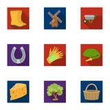 Satz Bilder über die Gartenarbeit Dorf, Gemüsegarten, Garten, Ökologie Bewirtschaften Sie und Gartenarbeitikone in der Satzsammlu stock abbildung