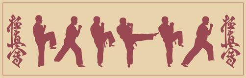 Satz Bilder des Mannes des engagierten Karate Stockbilder