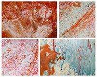 Satz Bilder mit roter und blauer Farbe spritzt auf Schmutzwand Abstrakter handgemalter Hintergrund für Ihr Design Lizenzfreies Stockfoto