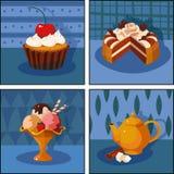 Satz Bilder: Nachtisch, Kuchen, Eiscreme, Tee Lizenzfreie Stockfotografie