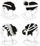Satz Bilder von altgriechischen Frauenköpfen stock abbildung