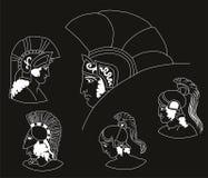 Satz Bilder von altgriechischen Kriegersköpfen Negativ vektor abbildung