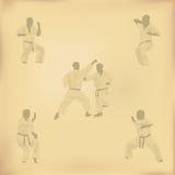 Satz Bilder von Karate Stockfoto