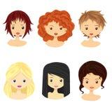 Satz Bilder von Mädchen mit verschiedenen Arten von Stockfotos