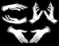 Satz Bilder von menschlichen Händen in den verschiedenen Haltungen Lizenzfreies Stockbild