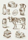 Satz Bilder von Milchprodukten Stockbilder