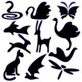 Satz Bilder von Tieren Lizenzfreie Stockfotos