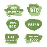 Satz biologische Lebensmittel, frisch, 100% natürlich, Bio! 00% Eco Fahnen Auch im corel abgehobenen Betrag Stockbilder