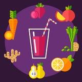 Satz biologisches Lebensmittel ringsum das Glas Lizenzfreie Stockfotos