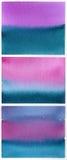 Satz blau-purpurrote Aquarellhintergründe Lizenzfreies Stockfoto