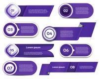 Satz blau-violetter Vektorfortschritt, Version, Schrittikonen Stockfotos