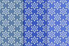 Satz blaue Blumenmuster Vertikale blaue nahtlose Muster Lizenzfreie Stockbilder