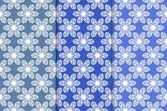 Satz blaue dekorative mit BlumenDesigne Vertikale nahtlose Muster Stockfoto