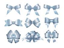 Satz blaue Geschenkbögen Konzept für Einladungs-, Fahnen-, Gutschein-, Glückwunsch- oder Websiteplanvektor lizenzfreie abbildung