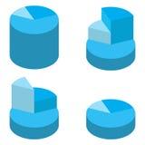 Satz blaue isometrische Massenkreisdiagramme Elemente von infographics für Geschäft Vektor Stockfoto