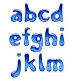 Satz blaue kleinen Buchstaben des Gel-, Eis- und Karamellalphabetes lokalisiert lizenzfreie abbildung