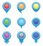 Satz blaue Kreiszeiger in den Farben des Regenbogens Stockbild