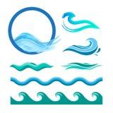 Satz blaue Meereswogen Stockbild