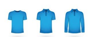 Satz blaue T-Shirts Lizenzfreie Stockfotografie