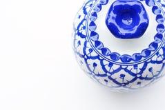 Satz blauer Chinaware Stockfotografie