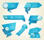 Satz blauer Vektorfortschritt, Version, Schrittikonen. Lizenzfreie Stockfotos