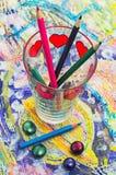 Satz Bleistifte und Farben Lizenzfreies Stockbild