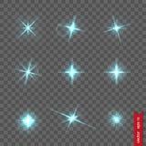 Satz Blitzlichter und glänzendes Funkeln Stockbild