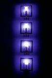 Satz bluewall Lampen in der Dunkelheit Lizenzfreie Stockfotos