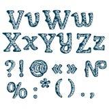 Satz Blumenbuchstaben Hand gezeichneter Schrifttyp Stockbilder