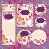 Satz Blumenhochzeitskarten Stockbild