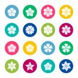 Satz Blumenikonen auf Farbhintergrund, Illustration Stockfotografie