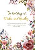 Satz Blumenniederlassungen Rosa stieg Blume, die grünen Blätter, rot Hochzeitskonzept mit Blumen Blumenplakat, Einladung lizenzfreie abbildung