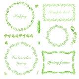 Satz Blumenrahmen und Motive des handgemalten Aquarells Stockbilder