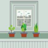 Satz Blumentöpfe auf Fensterbrett Stockfotografie