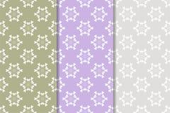 Satz Blumenverzierungen Farbige vertikale nahtlose Muster Lizenzfreie Stockfotografie