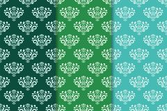 Satz Blumenverzierungen Grünsatz vertikale nahtlose Muster Stockfotografie