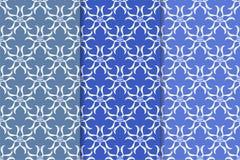 Satz Blumenverzierungen Vertikale blaue nahtlose Muster Lizenzfreies Stockfoto
